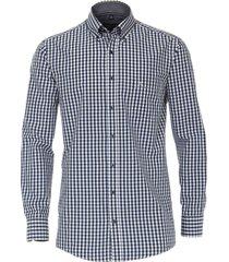 casamoda heren overhemd dobby geruit comfort fit