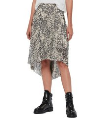 women's allsaints lea leopard print high/low skirt