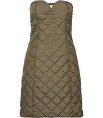 recycled ripstop quilt kort klänning grön ganni