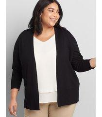 lane bryant women's lane essentials rib-trim cardigan 10/12 black
