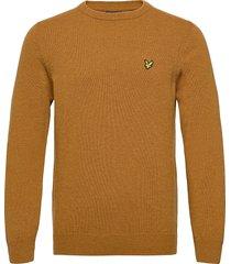 crew neck lambswool blend jumper stickad tröja m. rund krage brun lyle & scott
