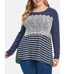 plus size lace splicing stripe high low tee