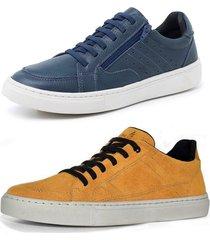 kit 2 sapatenis sandalo soft azul e basic mostarda