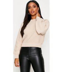 knitted rib crew neck crop sweater, stone