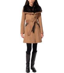 via spiga asymmetrical faux-fur-collar coat, created for macy's