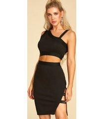 negro one top de hombros y abertura diseño falda conjuntos de dos piezas