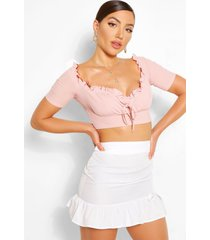 crop top met korte mouwen en ruches, blush