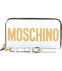 moschino women's logo-print continental leather wallet - white gold