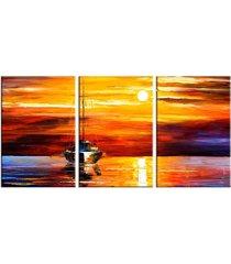 conjunto de telas decorativas pintura barcos a vela grande love decor