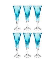 conjunto rojemac 6 taças de cristal ecológico para champagne wellington island paradise azul