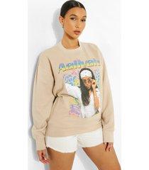 oversized gelicenseerde aaliyah sweater, stone