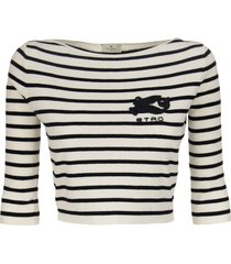 etro cotton short striped sweater with embroidered pegaso