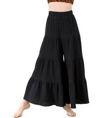 women's mara hoffman shelesea wide leg cover-up pants, size large - black