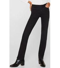 jeans straight medium rise negro esprit