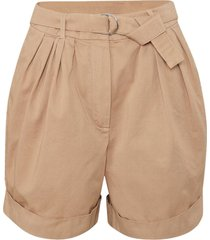 beige pleated cuffed shorts