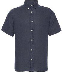 clean linen ss slim shirt overhemd met korte mouwen blauw j. lindeberg