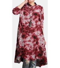 camicetta casual da donna con colletto alla coreana a maniche lunghe con stampa tie-dyed