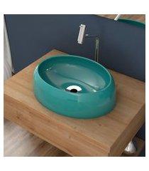 cuba de apoio para banheiro compace capri ov39w oval azul turquesa