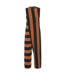macacão feminino unequal stripe - preto
