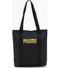 bolsa shopper puma core base preta - único