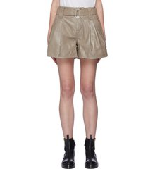 belted front pleat leather shorts