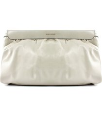 isabel marant cream leather clutch