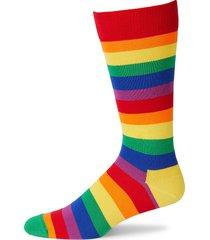 happy socks men's pride striped crew socks - red multi - size 10-13