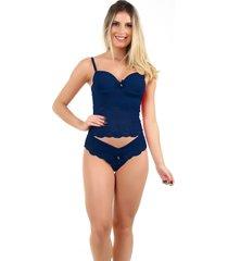 corpete imi lingerie corset corselet com bojo em microfibra e renda fio duplo sasha  azul marinho - azul marinho - feminino - renda - dafiti