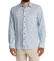 men's david donohue trim fit paisley linen dress shirt, size large - blue