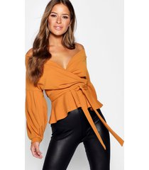 petite off the shoulder blouse, mustard