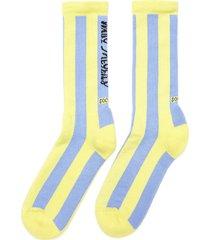 'wary meyers 01' colourblock stripe organic cotton blend tennis socks
