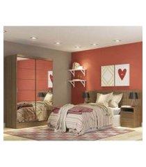 quarto completo com guarda roupa luke 2 portas de espelho e cabeceira com 2 mesas de cabeceira madesa rustic