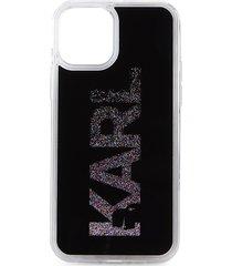 karl lagerfeld paris karl liquid glitter iphone 12 & 12 pro case - black