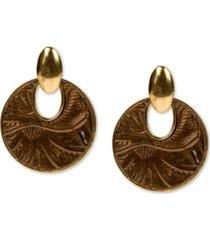 patricia nash bark leaves leather-inset doorknocker drop earrings