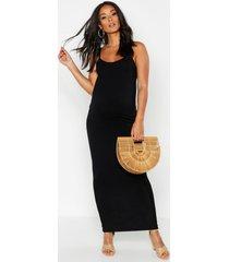maternity lacey strappy maxi bodycon dress, black