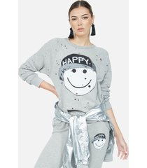 darby happy hat face - l heather grey