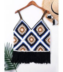 v-neck crochet fringe cover up top