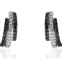 orecchini a lobo con diamanti bianchi e neri 0,072 ct per donna