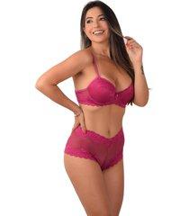 conjunto vip lingerie renda com bojo e caleçon rosa
