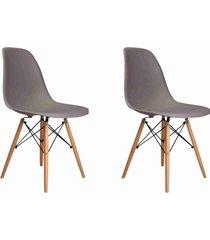 conjunto 02 cadeiras eif.s/branco pp cinza base madeira