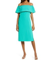 women's charles henry off the shoulder popover midi dress, size small - green