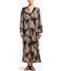 palm print maxi shirt dress