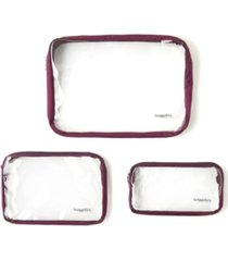 baggallini women's clear travel pouches, set of 3