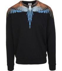 marcelo burlon man black and orange wings sweatshirt