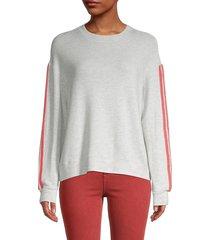 monrow women's striped dropped-shoulder sweatshirt - ash - size xs