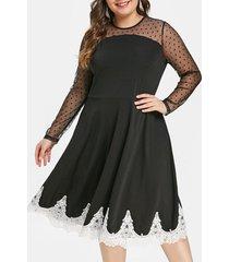 plus size sheer mesh insert lace trim flare dress