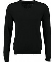 selected zachte zwarte slim fit trui katoen