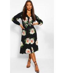bloemenprint midi jurk met knopen en driekwarts mouwen, zwart