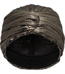 saint laurent metallic-effect turban hat - black