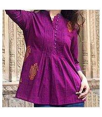 cotton blouse, 'wine delight' (india)